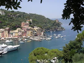 Portofino is a sheltered harbor nestled in the hills