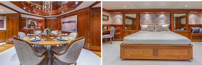 MY Ariadne Dining and Master stateroom